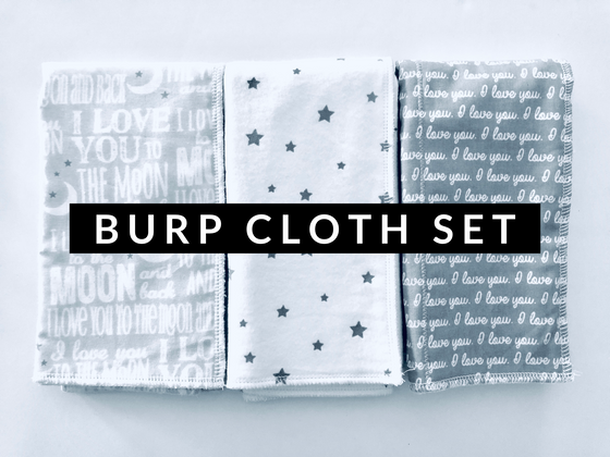 Burp Cloth Set Grey and White