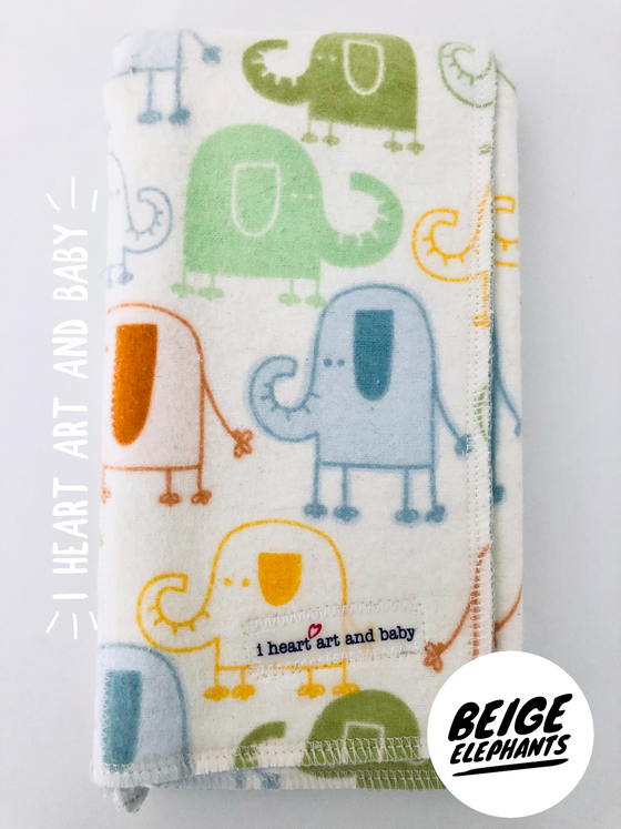 Beige Elephants Neutral Burp Cloth