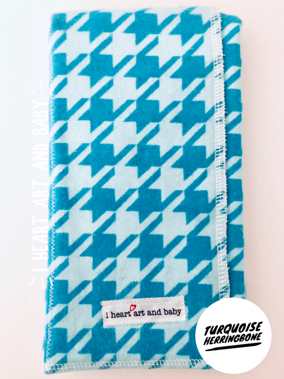 Turquoise Herringbone Neutral Burp Cloth