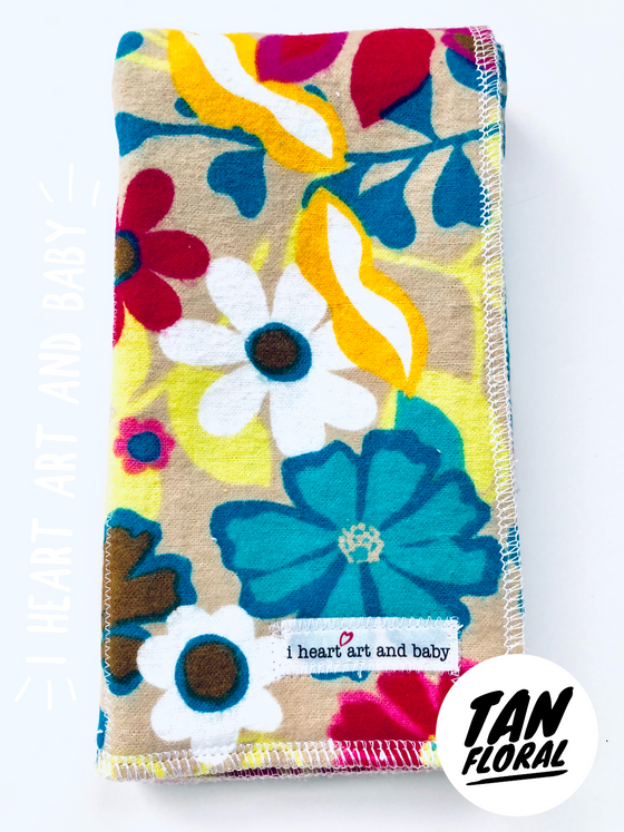 Tan Floral- Girl Burp Cloth