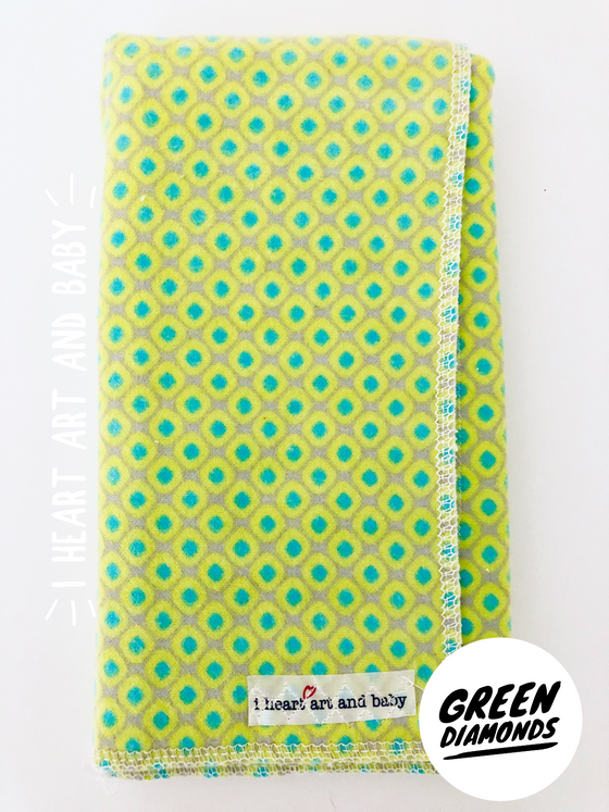 Green Diamond Neutral Burp Cloth