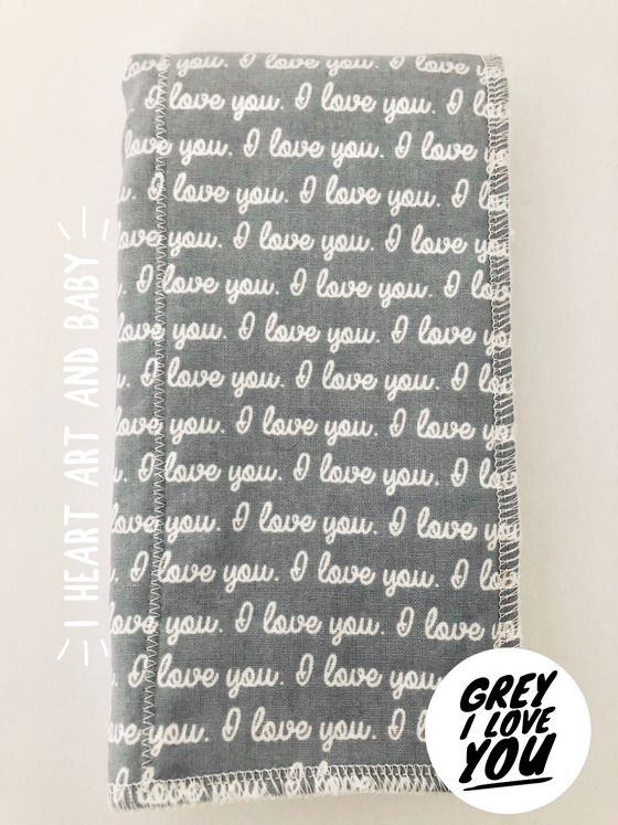 Grey I Love You Neutral Burp Cloth