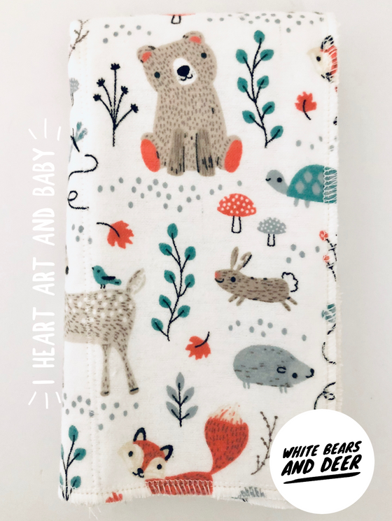 White Bears and Deer Neutral Burp Cloth