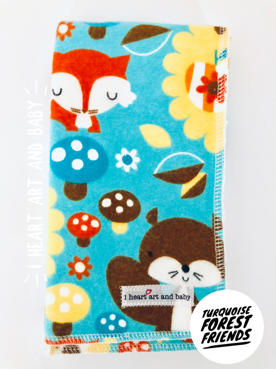 Turquoise Forest Friends Burp Cloth