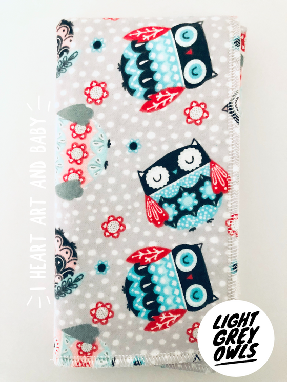 Light Grey Owl Burp Cloth