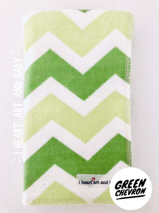 Green Chevron Neutral Burp Cloth