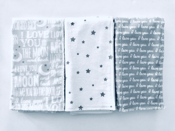 Love You To The Moon Burp Cloth Set