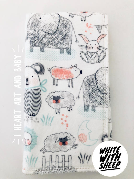 White with Sheep Neutral Burp Cloth