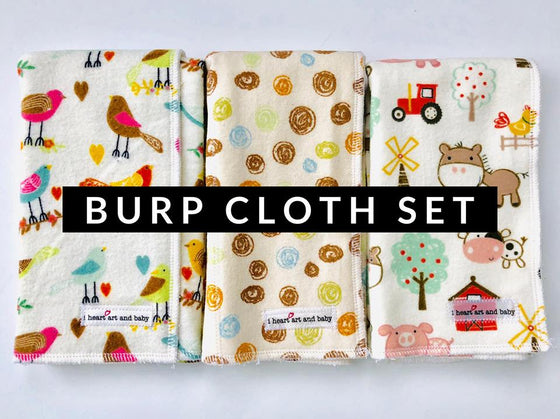 Gender Neutral set of 3 burp cloths- Birds, Brown Circles, and Farm