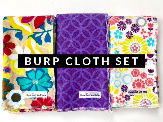 Set of 3 Girl Burp Cloths- Tan Floral, Purple Diamonds, and Flowers