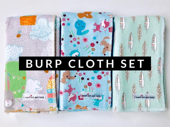Set of 3 Gender Neutral Burp Cloths- Hot Air Balloons, Light Blue Forest Friends, and Feathers