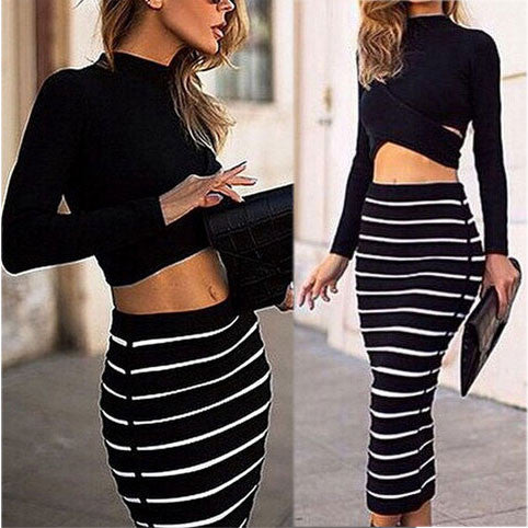 Sexy Two Piece Hollow Long Sleeve Striped Dress