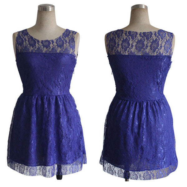Pure Color Sleeveless Purple  Lace Party Dress - lilyby