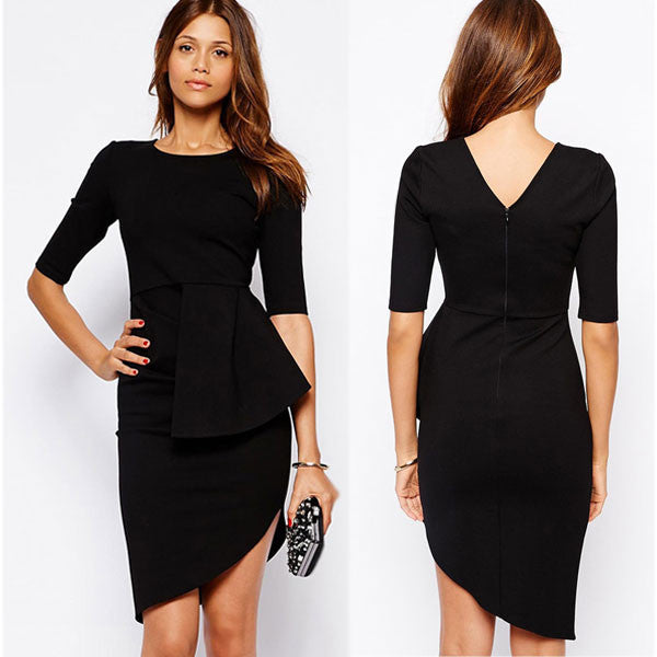 Back V Irregular Layers Black Dresses - lilyby