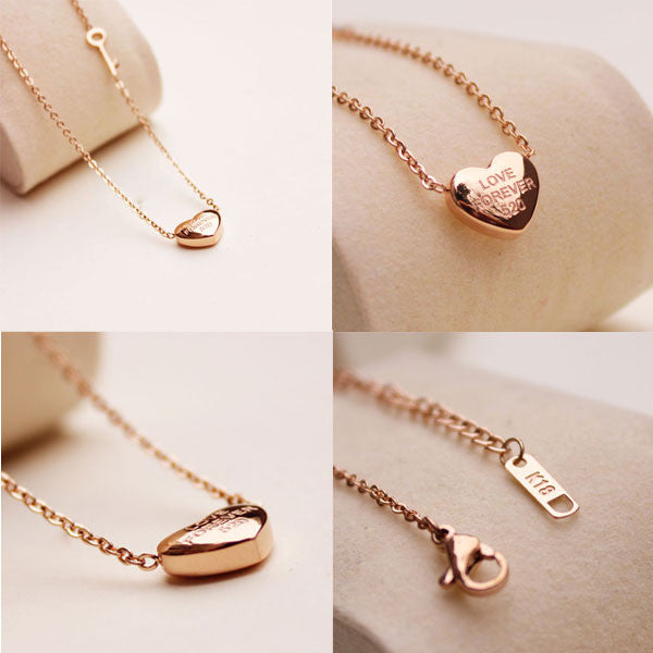 Unique Heart Pendant Key Golden Couple Necklace