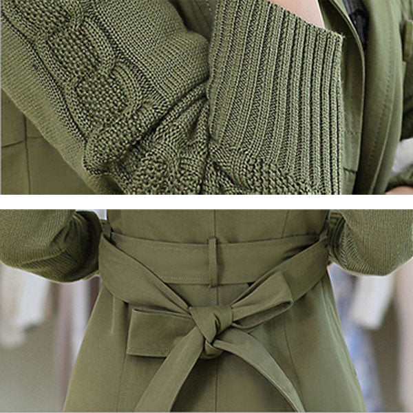 Sweater Sleeve Stitching Double Breasted Windbreaker/Long Coat