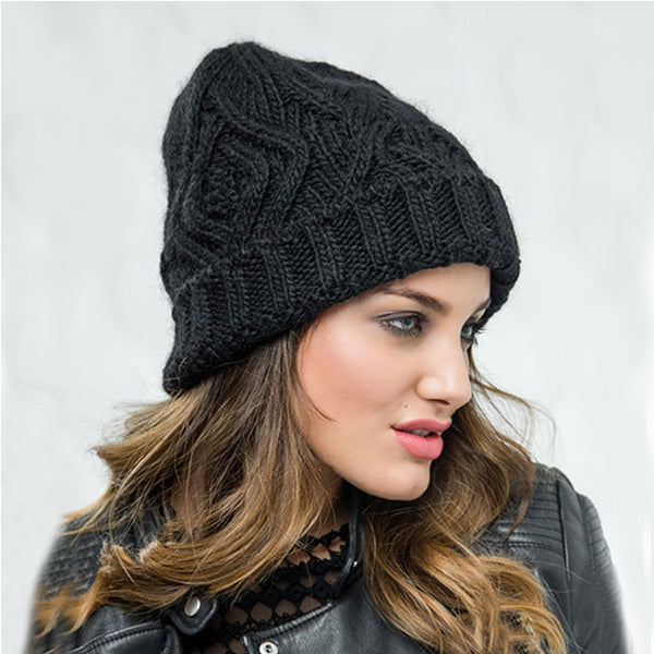 Leisure Checkered Soft Thick Wool Headband Knit Warm Winter Women Hat
