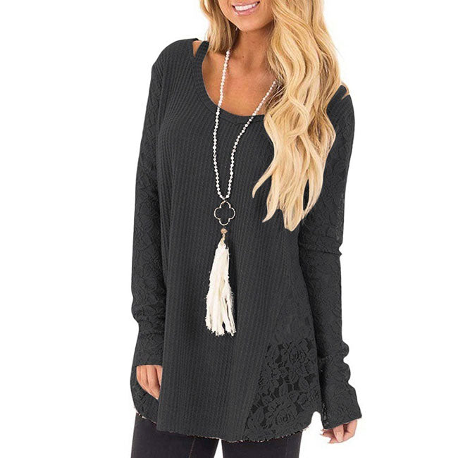 Leisure Splice Round Neck Hollow Lace Long Sleeve Women's Sweater