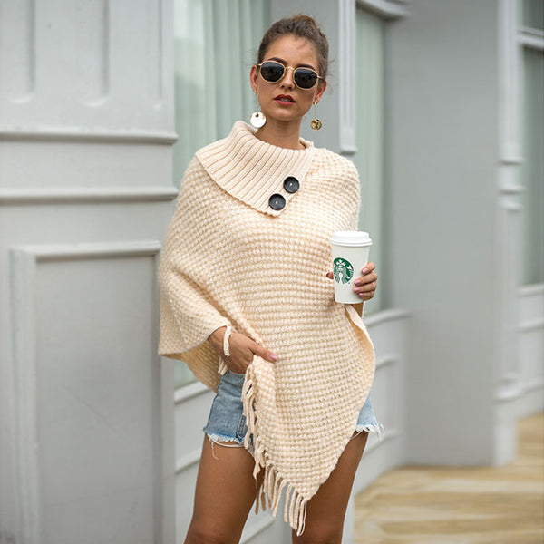 Leisure Button Half Open Collar Solid Color Hooded Knitting Fringed Cloak Shawl Irregular Ladies Sweater