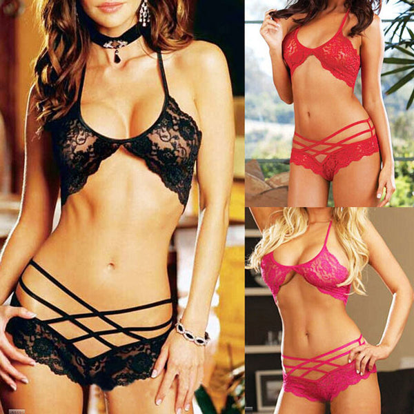 Floral Lace Cross Strap Underwear Sets Pajamas Rose Lingerie