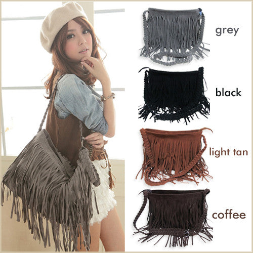 New Fringed Celebrity Shoulder Messenger Cross Body Bag Tote Handbag - lilyby