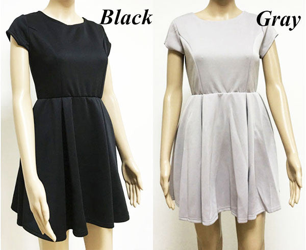 Fashion Cute Short-Sleeved Halter Ribbon Strap Dress Stitching Pleated Dress