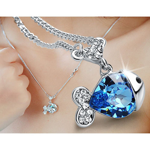 Shining Jelly Fish Crystal Necklace