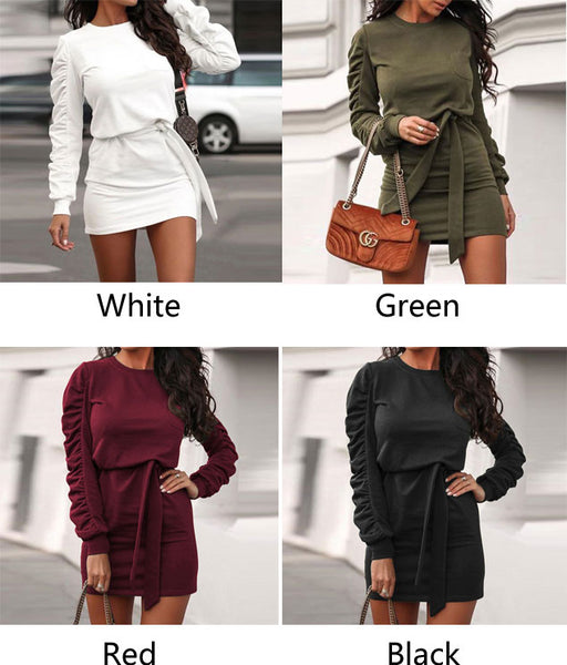 Leisure Pure Color Straps Folds Long Sleeve Autumn Winter Short Dress