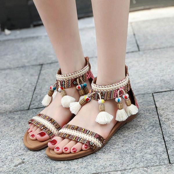Leisure Folk Bohemia Beaded Tassel Beach Flats Summer Shoes Women's Roman Sandals