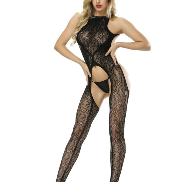 Sexy Black Uniform Temptation Open Net Pajamas Hot One-piece Stockings Conjoined Girls Lingerie