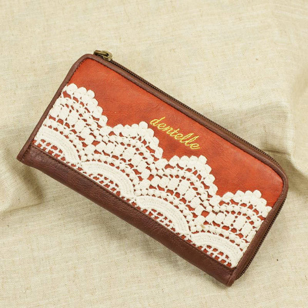 Retro Lace Handmade Leather Wallets - lilyby
