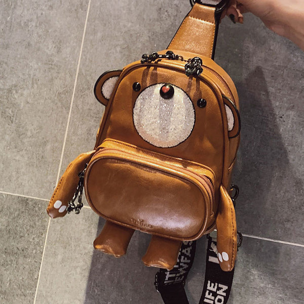 Lovely Multi-function Lady PU Messenger Bags Cartoon Bear Shape Shoulder Bag