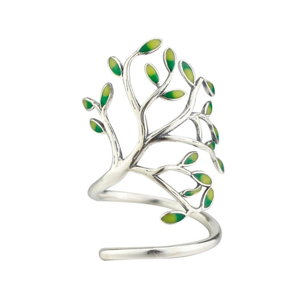 New Handmade Tree Forest Leave Glaze Branch Silver Open Ring