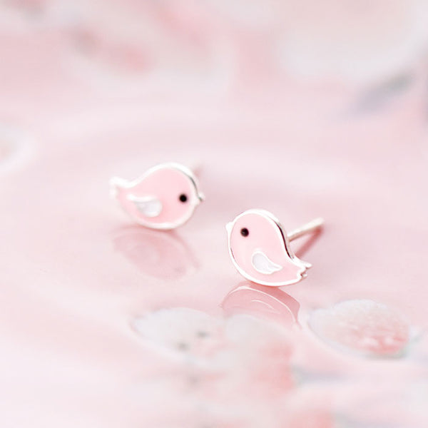 Lovey Pink Bird Silver Earrings Studs Sweet Animal Earrings