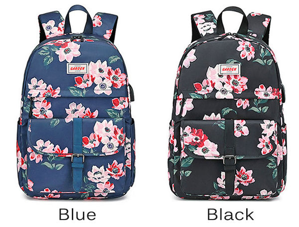 Casual Flower Print Single Buckle Middle School Bag Large Capacity Waterproof Computer Bag Student Backpack