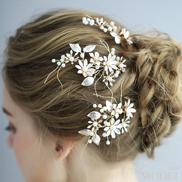Fashion Handmade Bridesmaid Pearl Flower Branch Hairpin Bride Wedding Hair Accessories