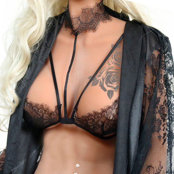 Sexy Camisoles Hanging Neck Bras Black Lace Hollow Women's Lingerie