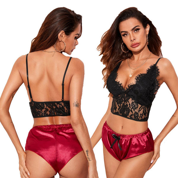 Sexy Black Eyelash Lace Perspective Gather Bra Set Red Short Panties Teenage Lingerie