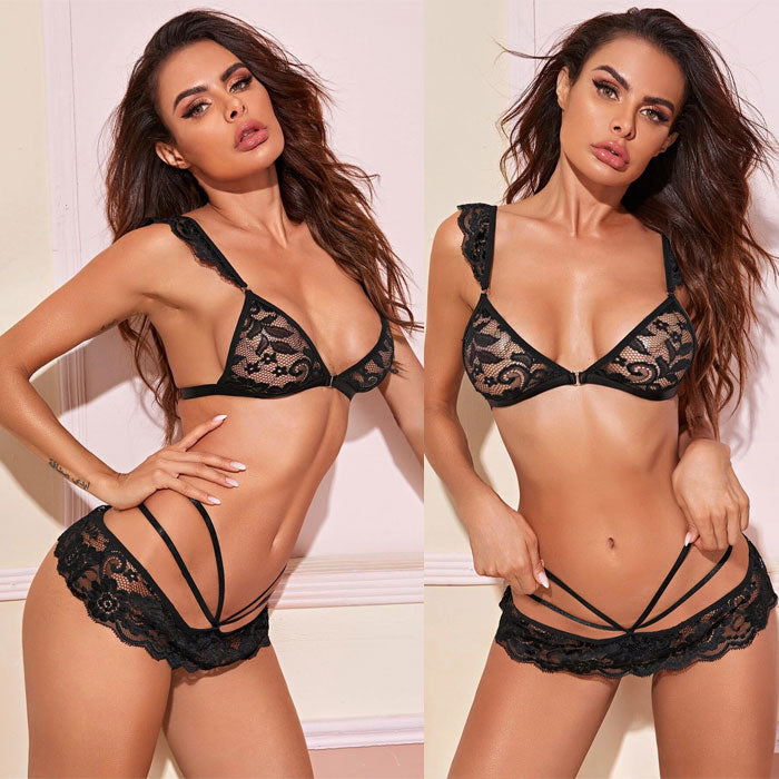 Sexy Black Lace Hollow Leaves Lace Bra Set Hot Teen Lingerie