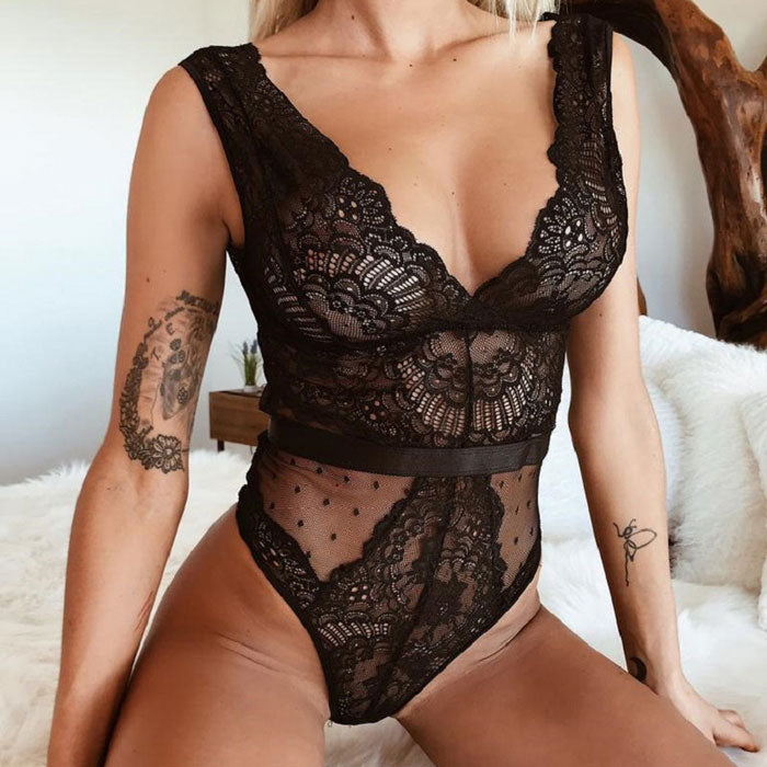 Sexy Black Hollow Lace Mesh Conjoined Women's Intimate Lingerie