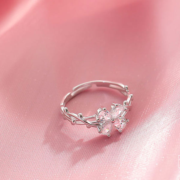 Cute Four-leaf Crystal Flowers Butterfly Thorns Entanglement Silver Open Ring