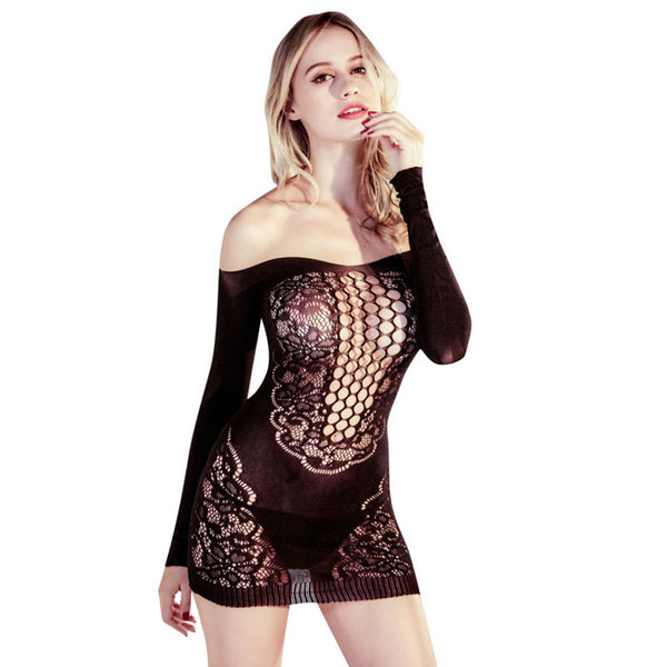 Sexy Off-shoulder Lace Long Sleeves Nightdress See-through  Black Mesh Pajamas Hollow Lingerie