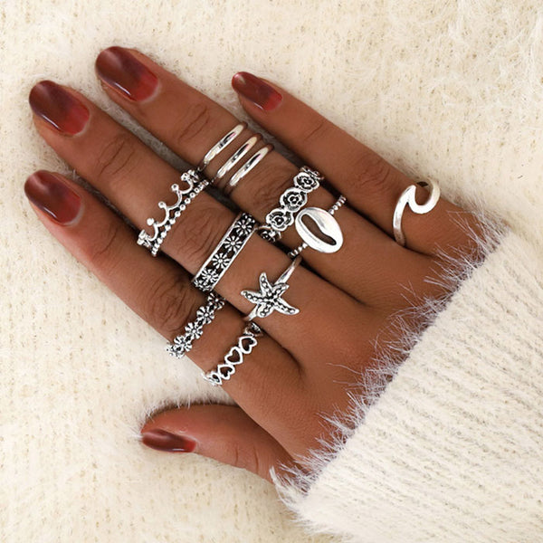 Retro Hollow Love Crown Pattern 11-piece Women Ring Starfish Wave Shell Ring