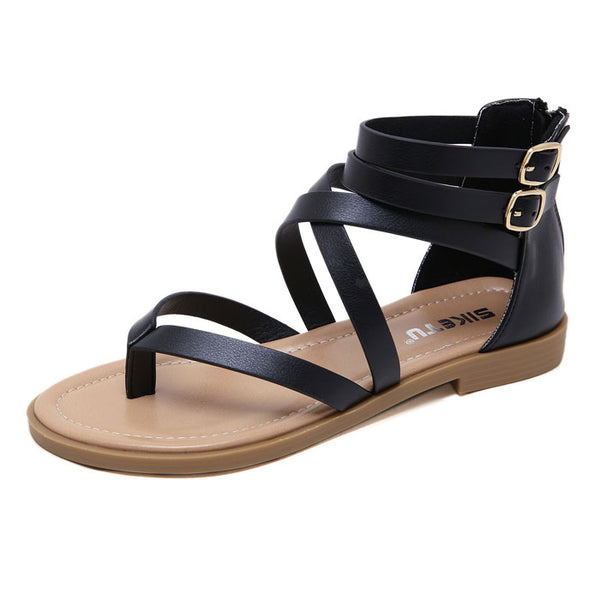 New Beach Flats Zippers Summer Shoes Women's Double Buckle Roman Sandals