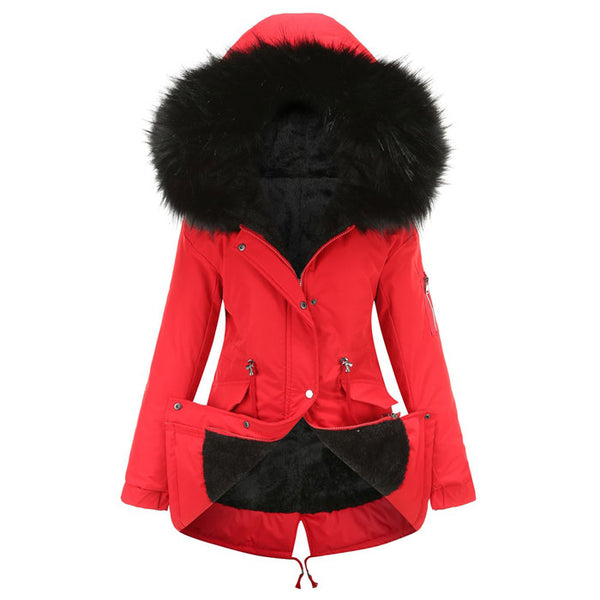 Leisure Fur Collar Thicken Cotton Mid-length Hooded Winter Warm Plus Velvet Overcoat Women Coat