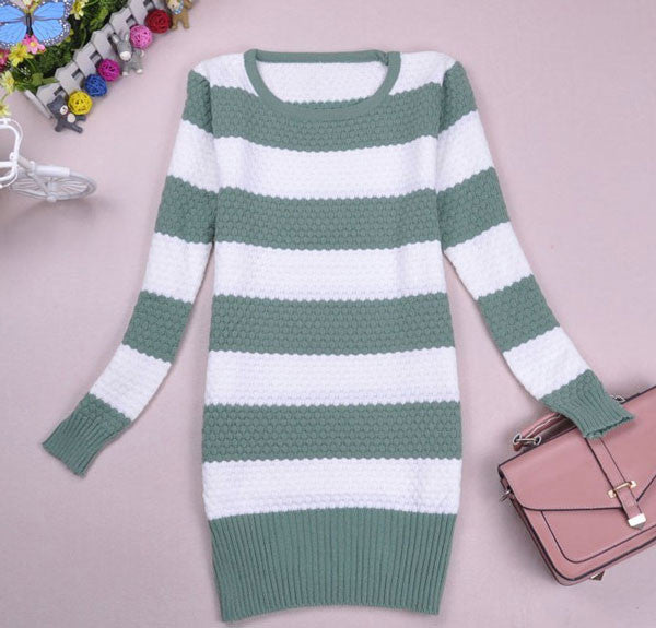 New Latest Colored Strip Long Knit Sweater - lilyby