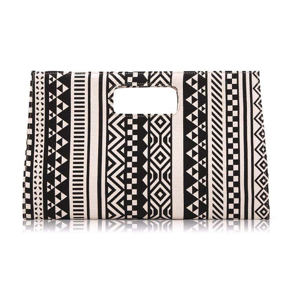Geometric Atmospheric Canvas Clutch