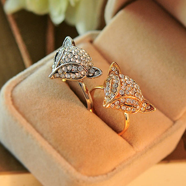Shining Diamond-bordered Fox Head Animal Women's Open Rings