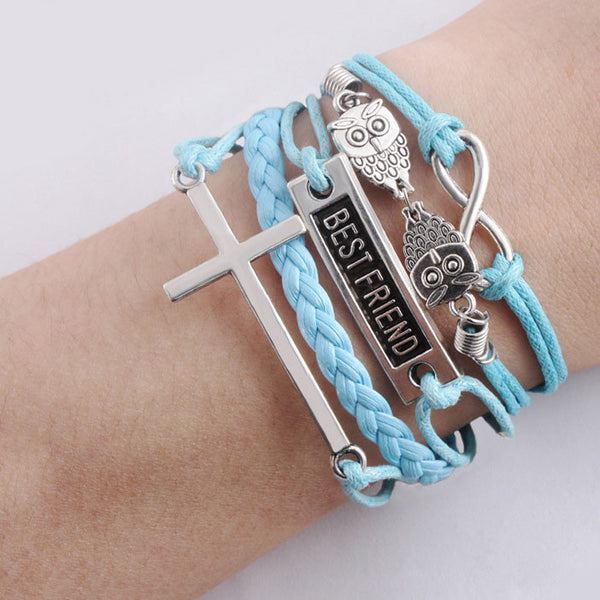 Cute Best Friend Owl Cross Infinity Bracelets - lilyby
