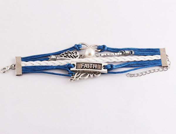 Cute Wings Love Faith Pearl Infinity Bracelets - lilyby